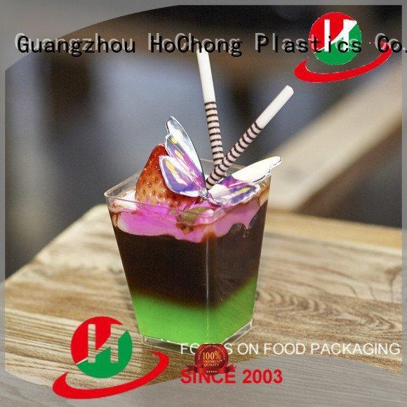 clear plastic dessert cups with lids cap hard OEM plastic dessert cups HoChong