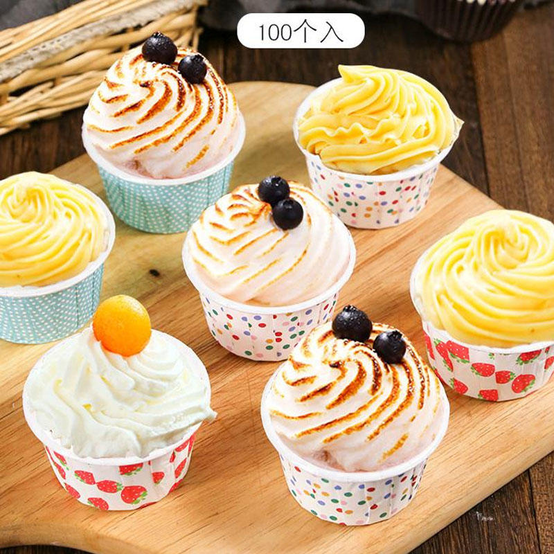 4 OZ Food-grade Disposable Paper Souffle Cups Paper Baking Cup Cupcake Liners Muffin Cups, Ideal for  cake bread sauce dressing