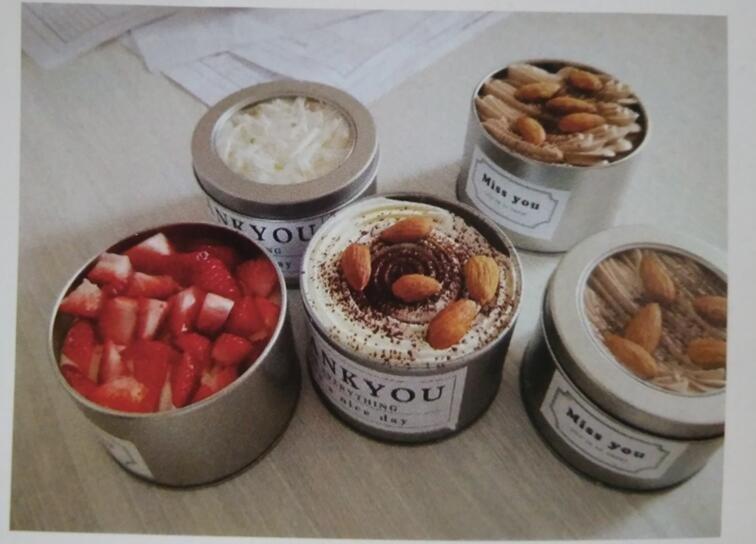 HoChong-13oz Tin Box Small Cake Bowls Parfait Cups With Transparent Lid | Plastic