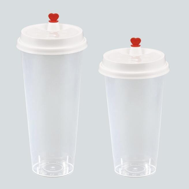 Clear Disposiable Tumbler Plastic Cups With Flat Lids for Cold Drink Bubble Boba Iced Coffee Juice Smoothie