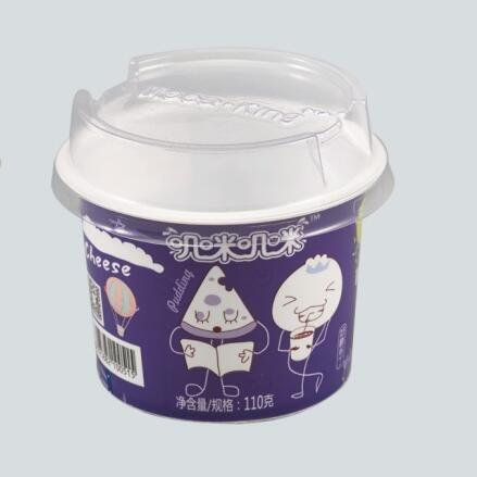 Plastic Milkshake Dessert Trifle Ice Cream Cup Cartoon Baby Label With Cover