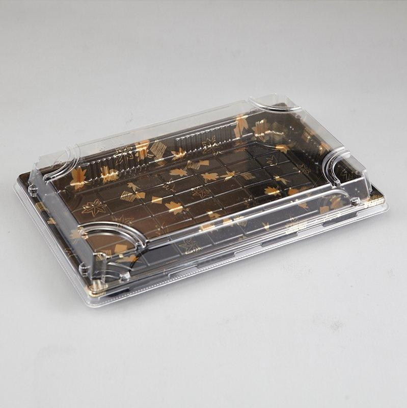 Recycled Black Base Durable Platter Cake Sushi Packing Container with Clear Lid