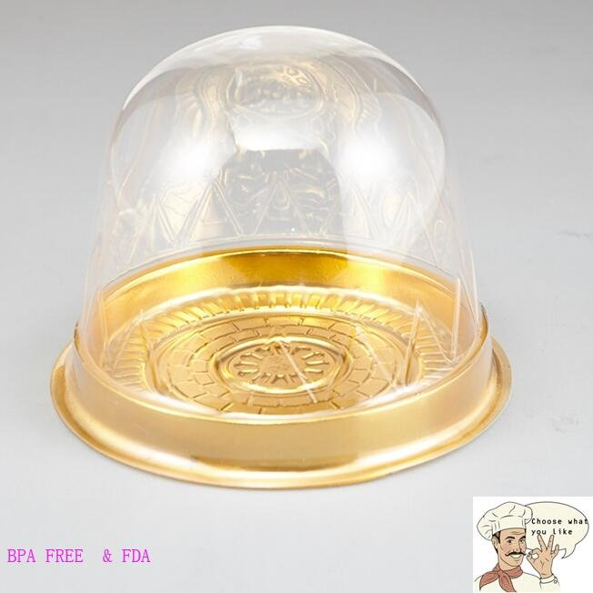 HoChong-Gold Base Dome Cake Container Two Size Take Out Muffin Box | Hot Package