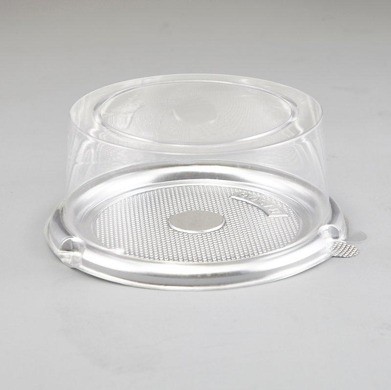 White & Black Arched Style Take Out Platter Cake Packing Container w/Clear Lid