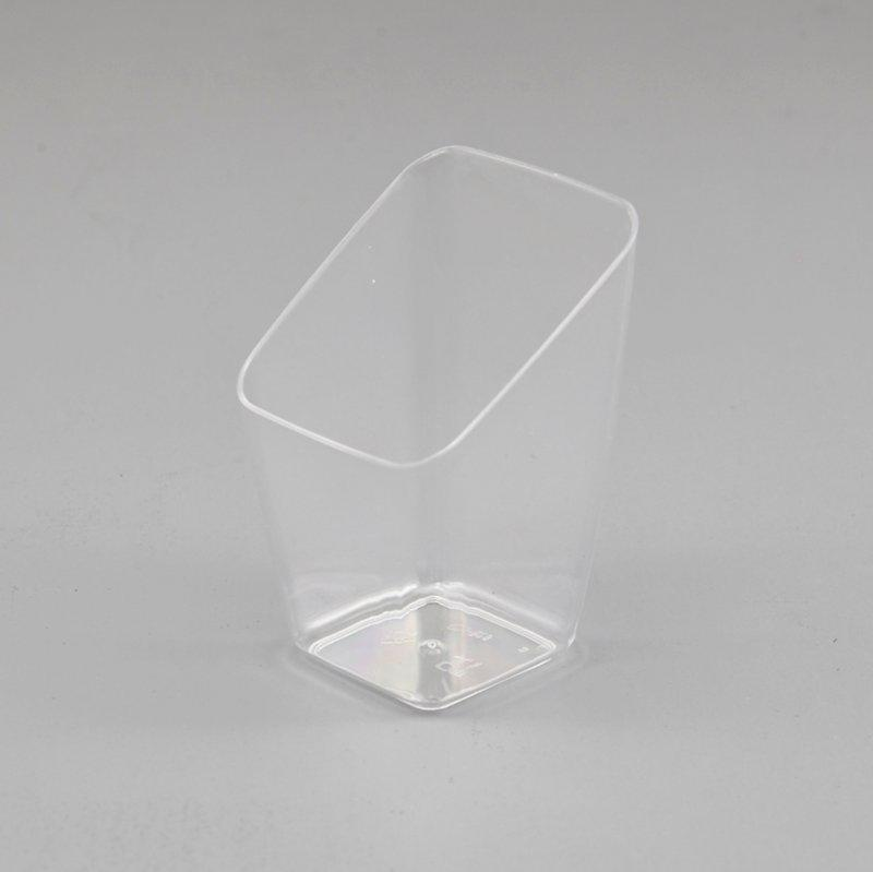 Slanting Side Clear Square Ice Cream Cup for Dessert Shop Showing Adv.