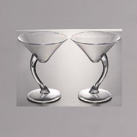 3 oz Plastic Clear Dessert Cups Scallop Stem Tall Martini Cocktail  Shooter Glasses Disposable Reusable Party Bowls