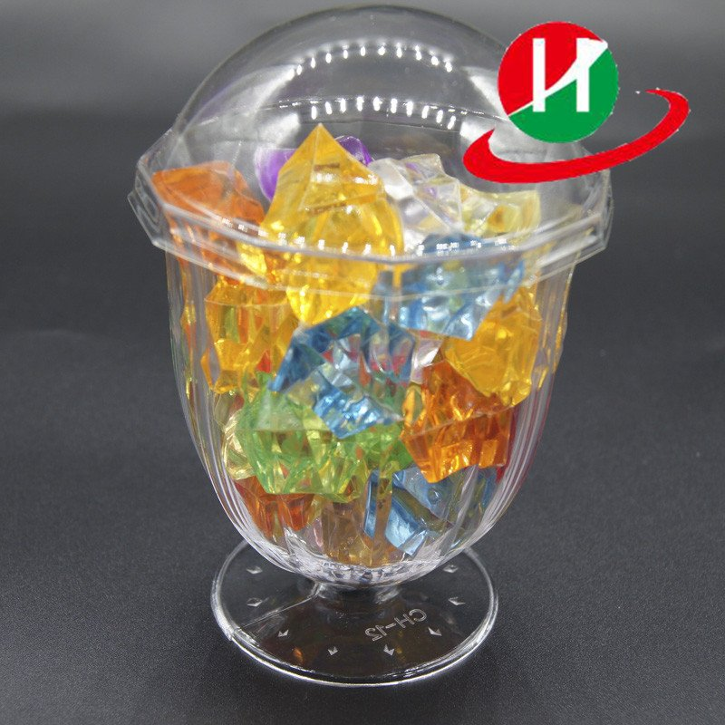 HoChong-Find 2 Oz Clear Hard Plastic Mini Dessert Cups Short Stem Wine Glasses