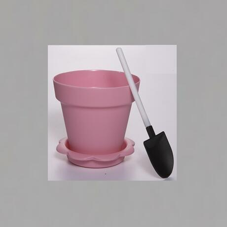 Pink Color Flower Pot  Shape DIY Baking Plastic Dessert Jelly Cake Yogurt Mousse Cups with optional Lid and Shovel , Assorted co
