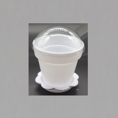 White Color Flower Pot  Shape DIY Baking Plastic Dessert Jelly Cake Yogurt Mousse Cups with optional Lid and Shovel , Assorted c