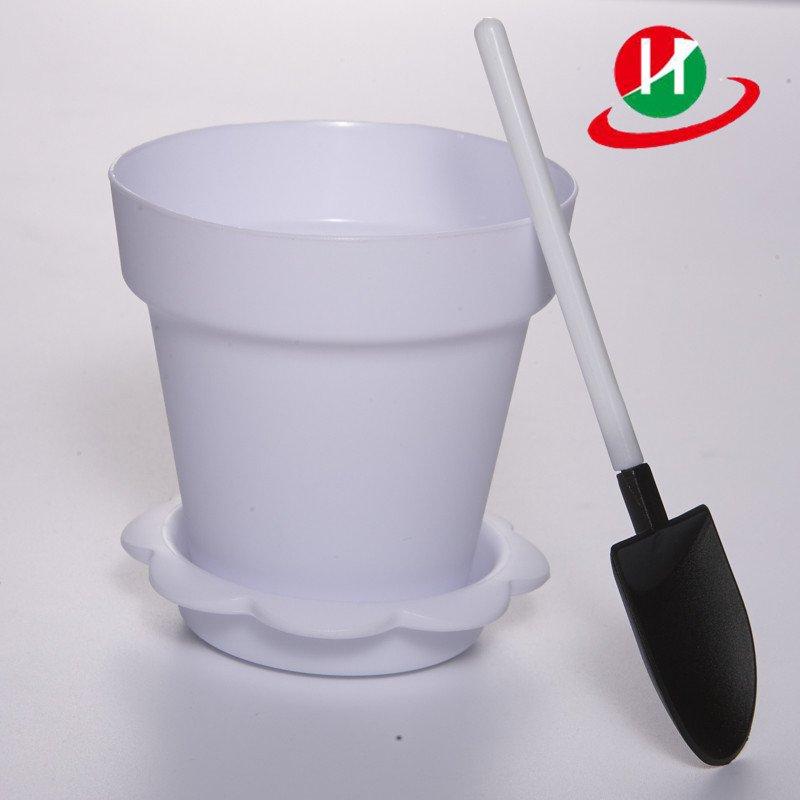 HoChong-High Quality White Color Flower Pot Shape Diy Baking Plastic Dessert Jelly