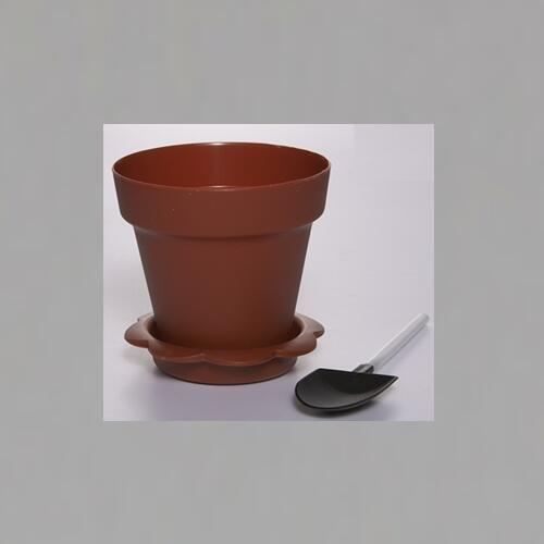Flower Pot  Shape DIY Baking Plastic Dessert Jelly Cake Yogurt Mousse Cups with optional Lid and Shovel , Assorted colors ,