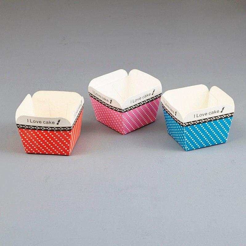 HoChong-Best Different Color Square Cupcake Wrapper Paper Cake Case Baking Cups